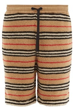 Burberry Holwell Icon Striped Fleece Basketball Shorts - Mens - Beige