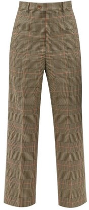Maison Margiela High-rise Pleated Checked Cropped Twill Trousers - Green Multi