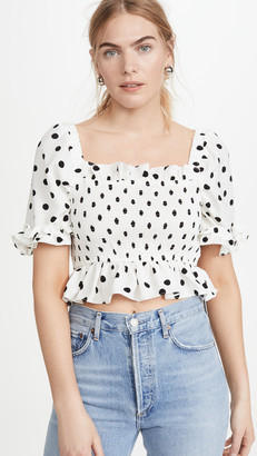 ENGLISH FACTORY Polka Dot Cropped Top