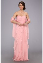 Adrianna Papell Long Irri Chiffon Strapless Tiered (Bridesmaid)