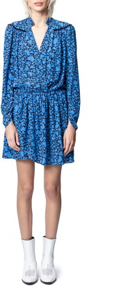 Zadig & Voltaire Reveal Heart Print Long Sleeve Dress