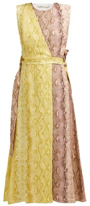 Emilia Wickstead Python-print Linen Panelled Midi Dress - Womens - Pink Print