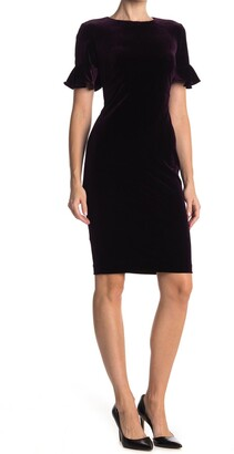 Calvin Klein Velvet Sheath Flutter Sleeve Dress
