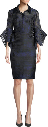 Badgley Mischka Sheer Striped Trumpet-Sleeve Shirtdress