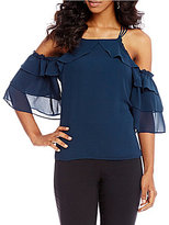 Takara Cold-Shoulder Tiered Sleeve Top