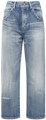 Saint Laurent Cotton Denim Straight Leg Jeans