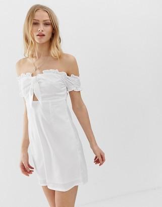 Glamorous bardot mini dress with tie front-White