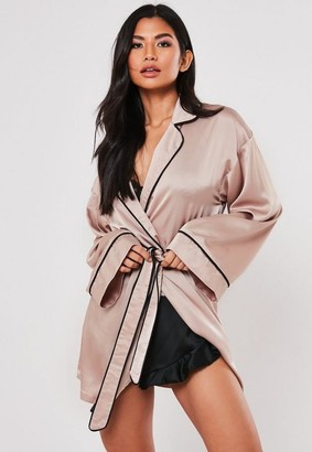 Missguided Mink Satin Piping Kimono Sleeve Dressing Gown