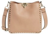 Valentino 'Small Rockstud' Leather Hobo - Brown