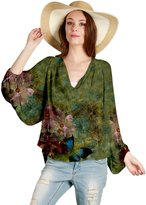 Aster by Firmiana Cinched Dolman Sleeve Butterfly Top