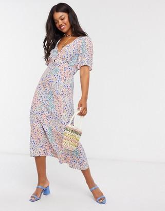 New Look v neck flutter sleeve midi dress in pink floral print