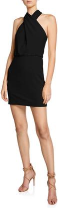 Halston Sleeveless Wrap-Neck Fitted Dress