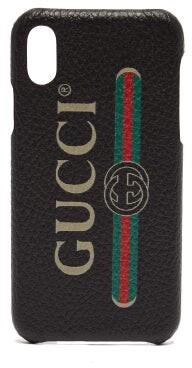 Gucci Vintage Logo Leather Iphone X Case - Mens - Black