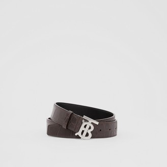 Burberry Monogram Motif Embossed Leather Belt