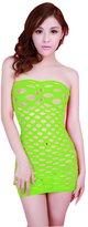 Puda Womens Strapless Mesh Hole Chemise Lingerie Mini Dress for Sex