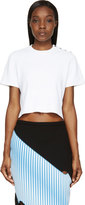 Proenza Schouler White Knit Cropped and Buttoned T-shirt