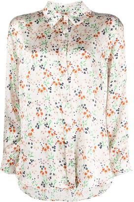 L'Autre Chose Floral-Print Silk Shirt
