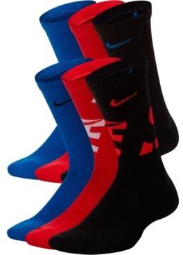 Nike Big Boys and Girls Youth Everyday Cushion Crew Socks, 6 Pack