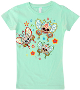 Micro Me Mint Butterfly Sugar Skulls Fitted Tee - Infant Toddler & Girls