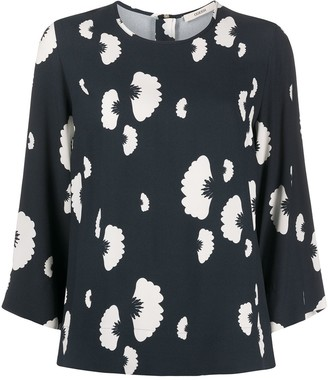 Odeeh Floral Print Cropped Sleeve Blouse
