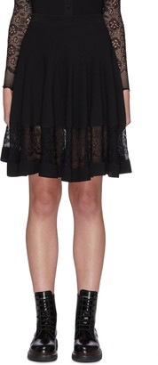 Alexander McQueen A-line Lace Trim Flare Hem Skirt