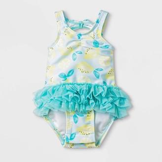 Cat & Jack Baby Girls' Lemon Print Rash Guard - Cat & JackTM Turquoise/White