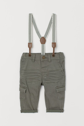 H&M Twill Pants with Suspenders - Green