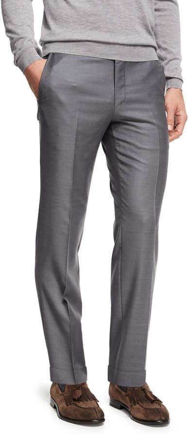 Ermenegildo Zegna Trofeo Wool Flat-Front Trousers