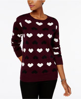 Charter Club Heart-Print Sweater, Created for Macy's