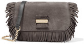 See by Chloe Rosita Small Fringed Suede And Textured-leather Shoulder Bag - Charcoal