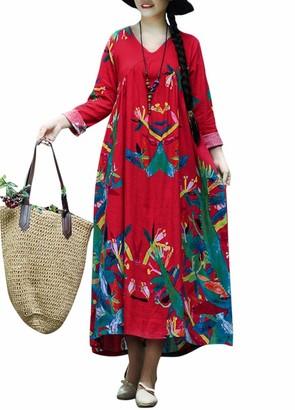 Romacci Women Vintage Loose Dress Boho Cotton Linen Dress Contrast Print Long Sleeves Oversized Robe Maxi Long Dress (XL