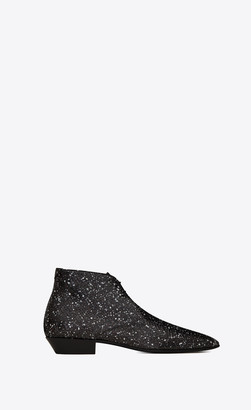 Saint Laurent Jonas Laced Ankle Boots In Stardust Python Black 10