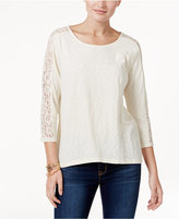 Style&Co. Style & Co Lace-Trim Crisscross-Back Top, Only at Macy's