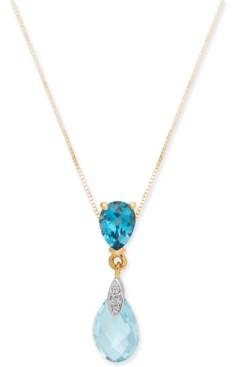 "Macy's Blue Topaz (3-1/4 ct. t.w.) & Diamond Accent 18"" Pendant Necklace in 14k Gold"