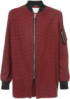 R 13 plaid check long bomber
