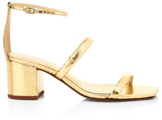 Alexandre Birman Lally Metallic Snakeskin Embossed Leather Ankle-Strap Sandals