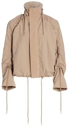 NSF Aya Mockneck Shirred-Sleeve Jacket