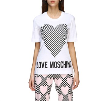 Love Moschino Short-sleeved T-shirt With Micro Checkered Heart