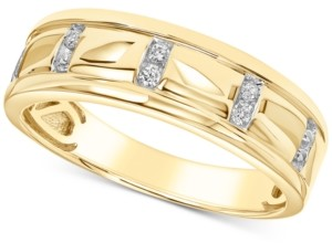 Cole Haan Men's Diamond Band (1/10 ct. t.w.) in 10k Yellow Gold and 10k White Gold
