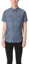 Calvin Klein Jeans Floral Chambray Print Short Sleeve Shirt