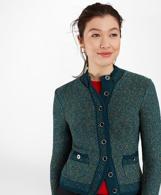 Brooks Brothers Shimmer Tweed Sweater Jacket