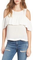 Lush Women's Cold Shoulder Ruffle Blouse