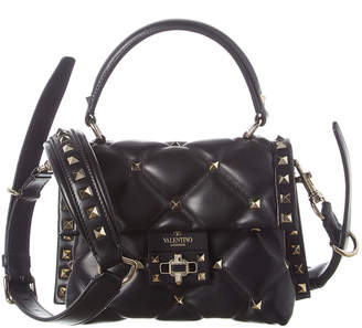 Valentino Candystud Mini Quilted Leather Top Handle Satchel