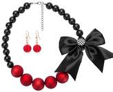 Ella & Elly Women's Earrings Red - Black & Red Goldtone Bow Necklace & Drop Earrings