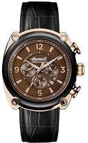 Ingersoll Men's Quartz Stainless Steel and Leather Casual Watch, Color:Black (Model: I01202)