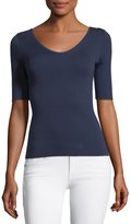 Michael Kors 3/4-Sleeve Scoop-Neck Cashmere Top