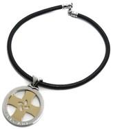 Bulgari 18k Yellow Gold Stainless Steel Tondo Cross Pendant Leather Choker Necklace
