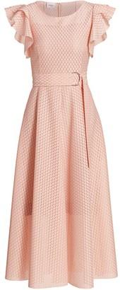 Akris Punto Ruffle Sleeve Dot Lace Lace Midi Dress