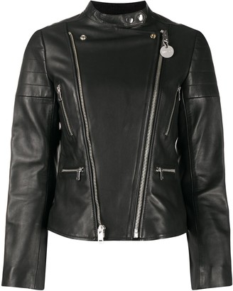 Diesel Double-Zip Leather Biker Jacket