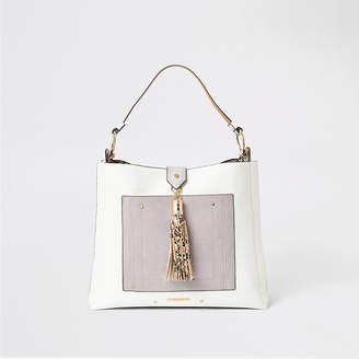 River Island Grey tassel and pocket front slouch bag